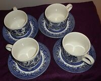 Set of 4 Churchill Blue Willow Flat Cup & Saucer Set made in England 4 Sets