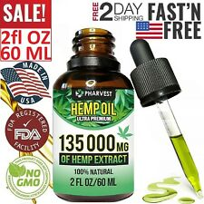 PREMIUM 135,000 MG Organic Hemp Sееd Oil Drops Pain Relief Reduce Stress Anxiety