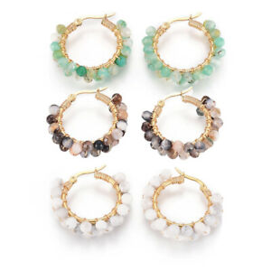 Stainless Steel Hoop Earrings Pearl Ring White Gold Agate Tiger Eye Howlite P326