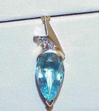 14K BLUE TOPAZ Pear Diamond Pendant Necklace Yellow Gold Gorgeous Vintage Modern