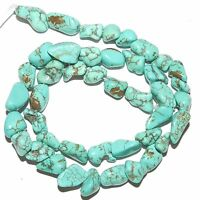 NG2355 Blue-Green Turquoise Small 8mm - 14mm Magnesite Gemstone Nugget Beads 15""