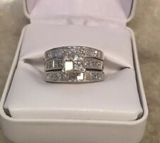 14k solid white gold princess cut diamond engagement ring 3.28 cttw Sz 7.5 $6500