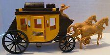 "Vintage Plastic Wells Fargo Stagecoach & Horses Toys 10"" x 5"""