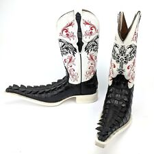 El General Men's Cowboy Boots White Leather & Black Imitation Caiman Tail Size 6