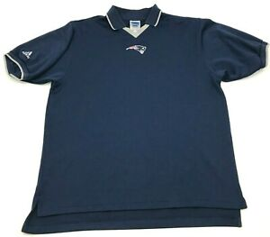 VINTAGE Adidas New England Patriots Shirt Size Large Blue Polo Short Sleeve 90's