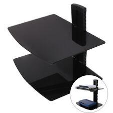 2 Tier Durable Tempered Glass Adjustable Floating Shelves Black TV DVD Player