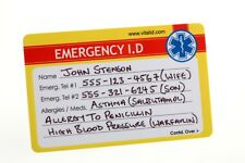 Medical Alert  Emergency ID Plastic Wallet Card - Lot of 2
