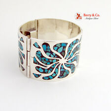 Wide Bracelet Sterling Silver Turquoise Enamel Inlay Decorations