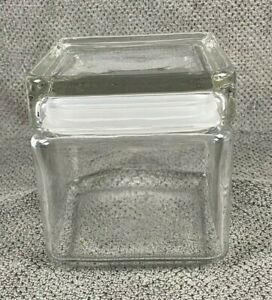 Anchor Hocking Square Glass Lidded Jar Stacking Container Canister Cube