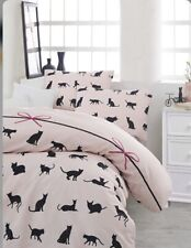 Bedding Set Linen Double Quilt Duvet Cover Cat Kitten Black Pink Animal Pet