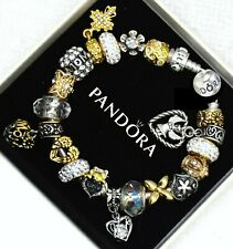 Pandora Bracelet Silver MOM Gold White Angel Heart with European Charms New
