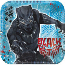 BLACK PANTHER SMALL PAPER PLATES (8) ~ Birthday Party Supplies Cake Dessert Blue