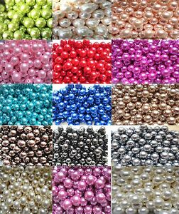 4mm - 20mm Faux Pearl Beads Choose 19 Sizes, 30 Colours Craft Jewellery Making