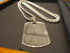 """MEN'S STERLING SILVER BEAD DOG TAG NECKLACE HAND MADE ITALIAN 925 NEW 36"""" LONG"""
