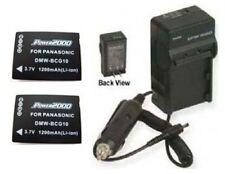 2 Batteries + Charger for Panasonic DMC-TZ7EB-K DMC-TZ7EB-S DMC-TZ7EB-T DMC-TZ8
