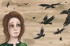 PRINT OF PAINTING RYTA RAVEN CROW PORTRAIT RYTA WOMAN ART 4X6 FANTASY SURREAL