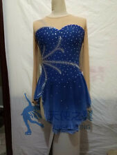 blue ice skating dress girls competition figure skating clothing women custom