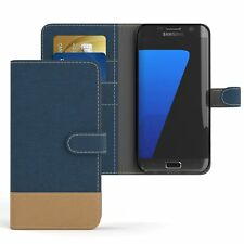 Tasche für Samsung Galaxy S7 Edge Jeans Cover Handy Schutz Hülle Dunkelblau