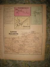 Antique 1874 Lower Nazareth Township Northampton County Pennsylvania Handclr Map