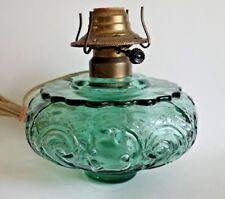 Vintage Kerosene Oil Lamp Light Green EAPG Glass Font Converted to Electric