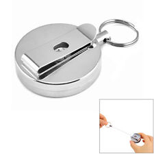 New Metal Wire 60cm Retractable Key Chain Recoil Pull Ring Belt Clip Card Holder