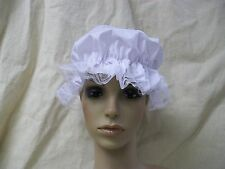 White Mop Cap Mob Hat Colonial Maid Granny Betsy Ross Rag Doll Peasant Victorian