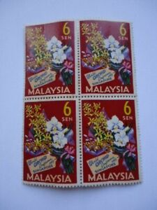 Malaysia 1963 SG4 6c Block x 4 MNH (toned) 4th World Orchid Conference