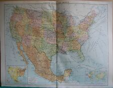 1919 LARGE MAP- UNITED STATES AND MEXICO