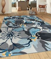 Modern Large Floral Non-Slip (Non-Skid) Area Rug Gray/Blue