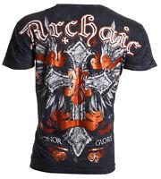 Archaic AFFLICTION Men T-Shirt VELOCITY Cross Wings Tattoo Biker UFC M-4XL $40 a