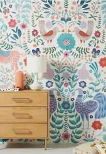NWT NEW ANTHROPOLOGIE HOME Eden Folk Art Wall Paper Mural Whimsical Surestrip