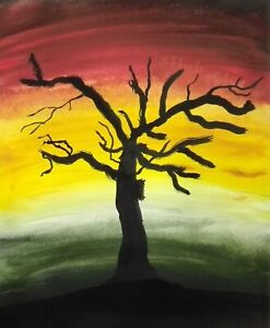 Secret Rendezvous Sunset Painting Silhouette Tree Skyline Landscape Original Art
