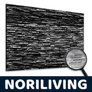 Duschrückwand Muster Fugenlos Fliesenersatz Wand Platte Schiefer schwarz S3441