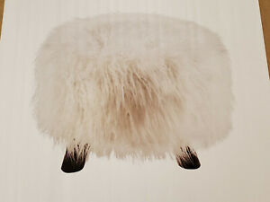 Linon Home Decor White Faux Fur Foot Stool with Wood Black Legs (NEW)