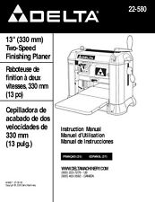 "Delta 22-580 13"" Two-Speed Finishing Planer Instruction Manual"