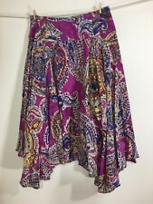 "Vintage Ralph Lauren ""Lauren"" Gypsy Style Cotton Skirt Purple Paisley Ps"