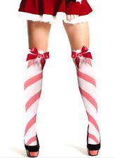 Sexy Santa Ann Summer Red White Candy Cane Striped Sexy Stockings U.K 8 - 12 S/m