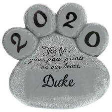 """Personalized Pet Memorial Stone Lawn Garden Marker Cat Dog Paw Print Grave 8"""""""