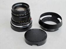"Leica M 50mm f:2 black Summicron lens with 12585 metal hood, Germany ""LQQK"""