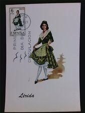 SPANIEN MK 1969 TRACHTEN LERIDA COSTUMES MAXIMUMKARTE MAXIMUM CARD MC CM c5557