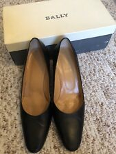 Bally Women's Classic Black Leather Heels Shoes Size 38.5, Size 8
