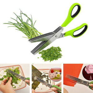 Herb Scissors Chop Herbs Easily with 5 Blade Scissors Onion Cutter Kitchen Tool