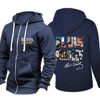 HOT Elvis Presley Zipper Hoodie Long Sleeve Casual Coat Warm Jacket Sweatshirt