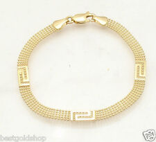 """7"""" 5 Row Ball Chain Link Bracelet with Greek Key Stations REAL 14K Yellow Gold"""