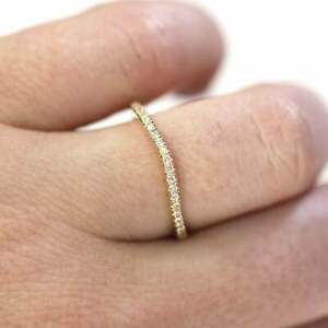 0.15 ctw Natural Diamond Solid 14k Yellow Gold Curved Matching Band Ring 1.5 MM