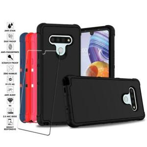 For LG Stylo 6 Slim Shockproof Armor Rugged Hybrid Case + Glass Screen Protector