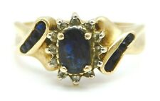 BEAUTIFUL Solid 14k Yellow Gold / Sapphires / Diamonds Ladies Ring Size 8.75