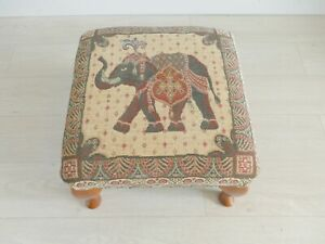 Bohemian Indian Elephant Studded Upholstered Footstool    |238