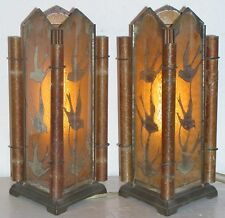 Pr Antique Deco Reverse Painted Glass Birds Triangle Torchiere Mantle Panel Lamp