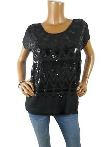INC Top L NWT $69 2pc Set Black Sequin Sheer Over Cami Holiday Party Blouse